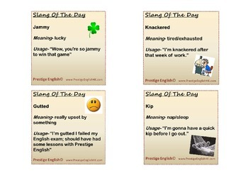 31 Slang Of The Day Posters/Flashcards