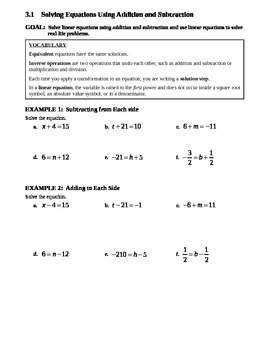 3.1 Solving Equations Using Addition and Subtraction