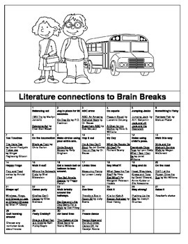31 days of Classroom Brain Breaks (exercises) + Literature connections