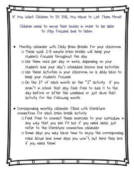 31 days of Classroom Brain Breaks (exercises) + Literature