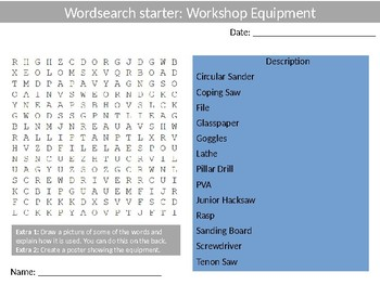 310 Design Technology Wood-shop & Food Starter Activities Wordsearch Keywords