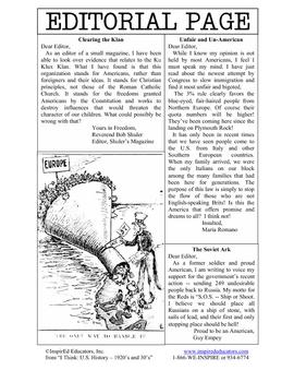 3109-7 Bigotry in the 1920's
