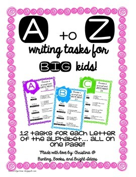 312 Write About It A to Z Writing Center Tasks for Big Kids!  {Low Prep Too!}