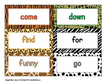 316 Dolch words / Flash cards  - Animal Print - ZisforZebra - Editable!
