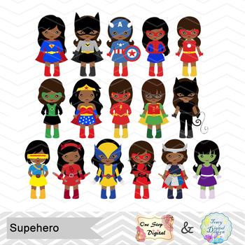 Superhero african american. Girls clipart
