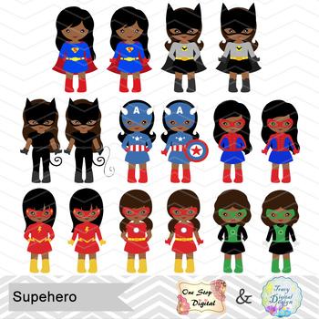 32 African American Superhero Girls Clipart, African American Superhero 0276