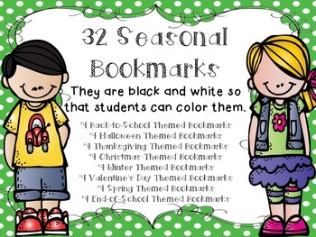32 Black-and-White Seasonal Bookmarks