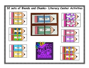 32 Blends and Chunks Literacy Center Activity Cards