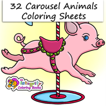 32 Carousel Animal Coloring Pages - Fun Activity (K-3) | TpT