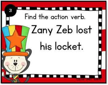 SCOOT Action Verbs Task Cards & QR Codes w Cat in the Silly Hat