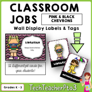 32 Classroom Jobs and Student Brag Tags *** Pink and Black Chevron  ***