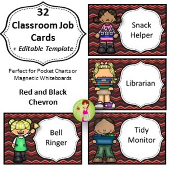 32 Classroom Jobs with Editable Templates *** Red and Blac