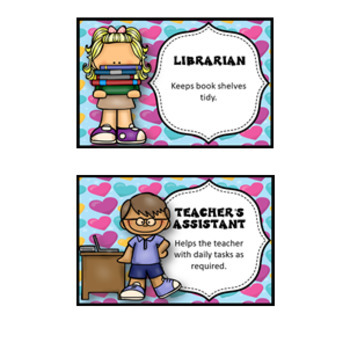 32 Classroom Jobs and Student Brag Tags *** Love Hearts  ***