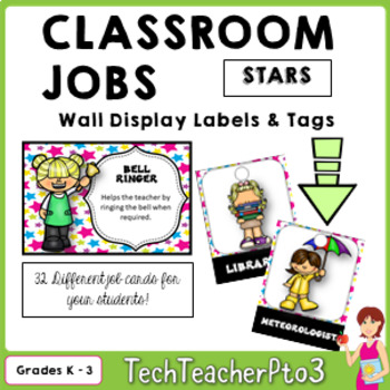 32 Classroom Jobs and Student Brag Tags *** Stars ***