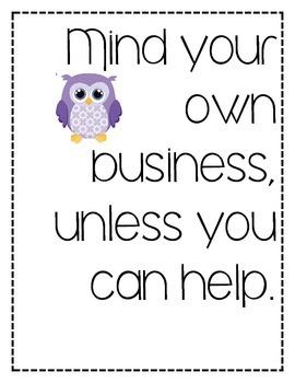 32 Classroom Rules (Owl Theme)