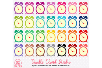 32 Colorful Alarm Clock Cute Clipart Rainbow Time Clock Illustrations Stickers