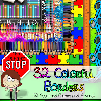 Colorful Borders - 32 Vibrant Clipart Images {The Teacher Stop}