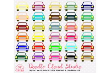 32 Colorful Cars Clipart Cute Rainbow vehicle Illustration Travel Clip art