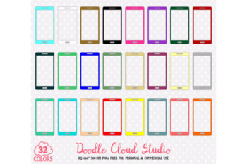32 Colorful Cellphone Clipart Cute Mobile phone telephone planner stickers