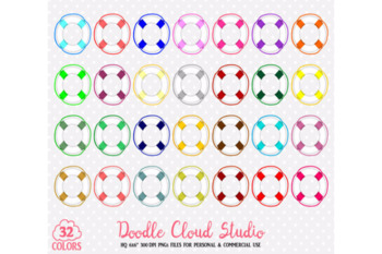 32 Colorful Lifebelt Ocean Boat planner stickers Nautical Clipart PNG