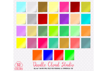 32 Colorful Post-it Clipart Office Memo PNG with Transparent Background.