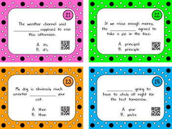 32 Commonly Confused Words(homophones) QR Code Task Cards and Game Board