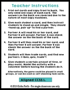 Context Clues Quiz-Quiz-Trade Cards {Set of 32}