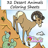 32 Desert Animals - Coloring Pages for Science/Biology