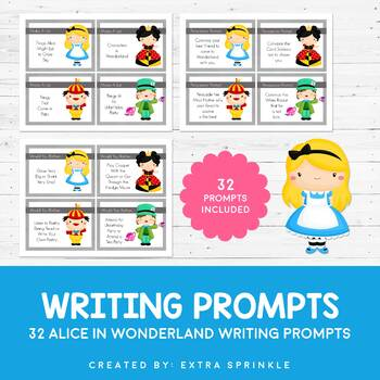 32 Disney Inspired Alice in Wonderland Writing Prompts and Recording Sheets