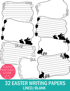 32 EASTER WRITING PAPERS BLACK & WHITE-TEMPLATE- EASTER WRITING PAPERS