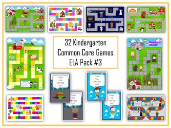 32 ELA Kindergarten Folder Games - Common Core Pack #3 - Word Work Centers!