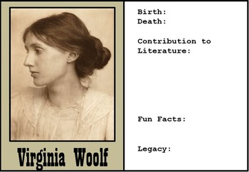 32 Famous Authors in History - Trading Cards - Great for High School English!