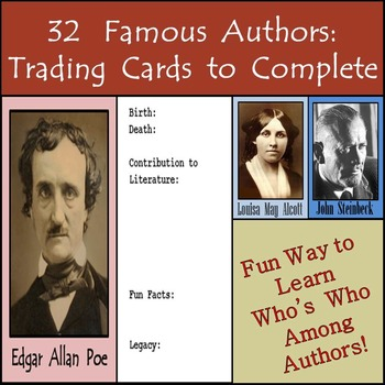 32 Famous Authors in History - Trading Cards - Great for H