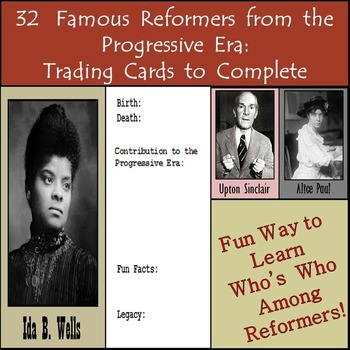 32 Famous Reformers from the Progressive Era (1890-1920): Trading Cards