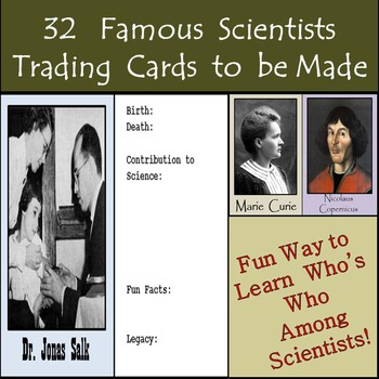 32 Famous Scientists in History: Trading Cards to be Complete