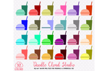 32 Fast Food Clipart Colorful Take-away Restaurant Burger Soda Food Stickers