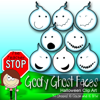32 Goofy Ghost Faces - Spooky Fun Halloween Clipart {The T