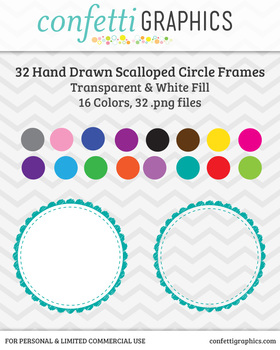 32 Hand Drawn Scalloped Circle Frames / Borders / Journal Tags in Bright Colors