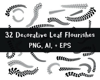 32 Leaf Flourishes | Floral, Nature, Fern Fronds | Vector Clipart | PNG, AI, EPS