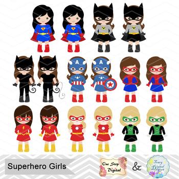 32 Little Girl Superheros Digital Clip Art, Girls Superhero Clipart 0264