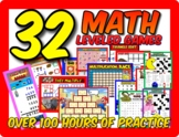 32 MATH GAMES!  Leveled centers Gr 2-6