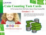 32 Math Task Cards - Counting Coins with Word Problem Activities Grades 1-3