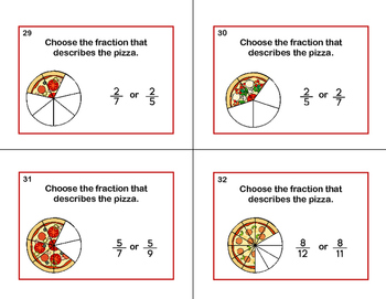 32 Math Task Cards- Grade 3-Pizza Fractions-CCSS.MATH.CONTENT.3.NF.A.1