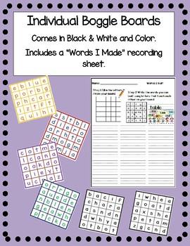32 Mini Boggle Boards & Recording Sheet (Color or Black & White)