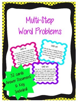 32 Multi-Step Word Problem Task Cards
