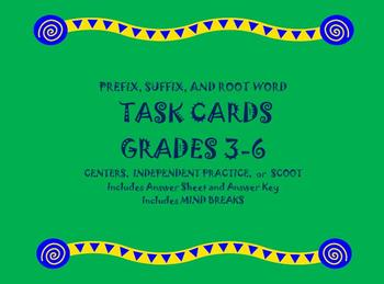 32 Multiple Choice Prefix, Suffix, and Root Word Task Cards