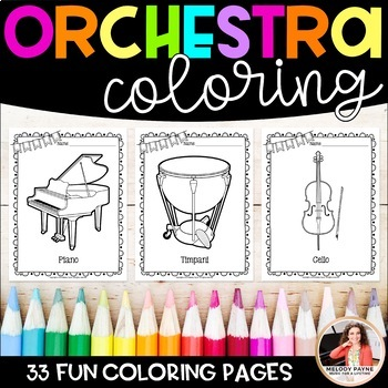 Music Coloring Sheets {32 Orchestra Instruments}
