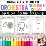 Distance Learning Digital Music Worksheets: Orchestra Instruments
