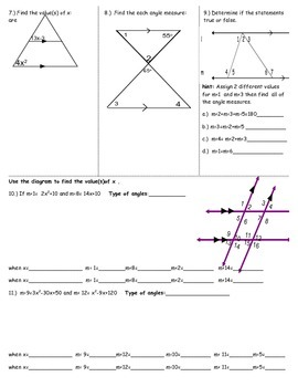 3.2 Parallel Lines and Angle Pairs Worksheet 2 by TpT Store 8  TpT