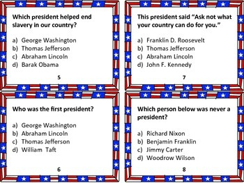 32 President Trivia Task Cards: Grades 6-8 (Perfect for President's Day)